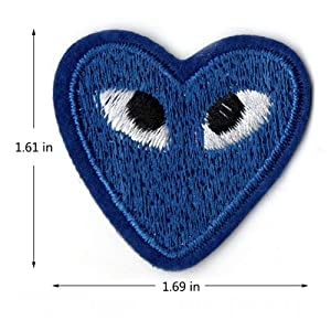 Iron On Patches 16 Pcs Cartoon Love Heart Patches Eyes Cute Embroidered Appliques for Backpacks Jackets Jeans Clothes DIY Crafts 2 Style 12 Colors