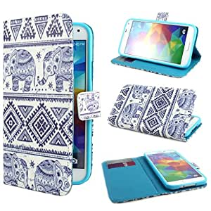 ivencase Elephants Design Wallet PU Leather Stand Flip Case Cover For Samsung Galaxy S5 SV + One 'ivencase ' Anti-dust Plug Stopper