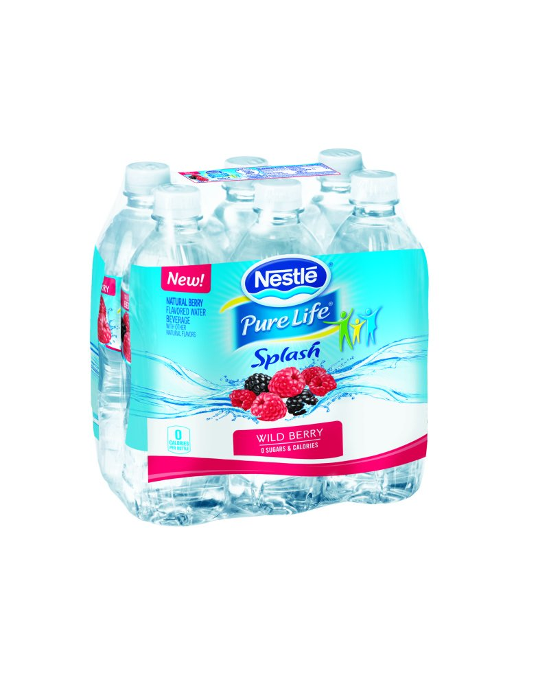 Nestle Pure Life Splash Water Beverages with Natural Fruit Flavors, Wild Berry 16.9-ounce plastic bottles (Pack of 6)
