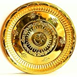 Divya Shakti Handmade Hindu Brass Puja Thali - Engraved Om Symbol And Gayatri Mantra - Religious Gifts - Diameter 6.5 Inch, For Diwali And Festival Gifts ( Religious Item Pooja Thali )