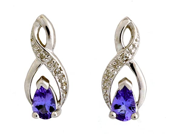 Ornami Glamour 9ct White Gold Pear Tanzanite And Diamond Set Crossover Stud Earrings