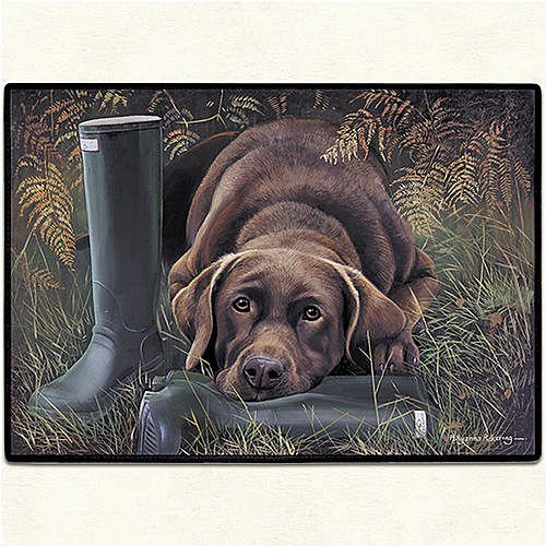 CHOCOLATE LAB DOOR MAT - RUBBER BACKED DOORMAT - 27