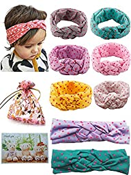 BS® 6pcs of Highest Quality Cute Baby Girl\'s Headbands Cotton Turban Knotted Headband Head Wrap Newborn Knotted Elastic Hair Bands Headwear Set with Dot, For Head circumference: 42-50cm/16.54-19.69\