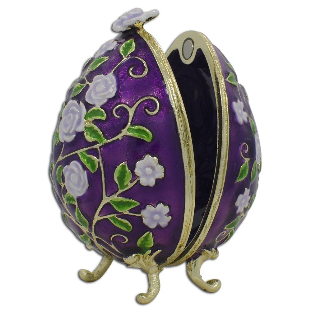 Flowers of the Garden Inspired Russian Egg - Enameled Jewelry Trinket Box Figurine