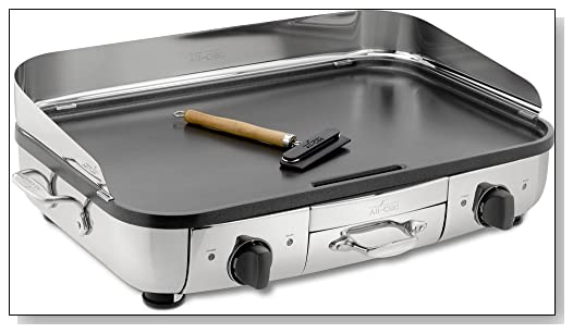 All-Clad TG700262 Electric Indoor Grill with Extra-Large Premium Nonstick Grilling Surface, 20 x 13-Inch, Silver