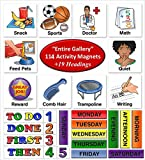 SchKIDules Visual Schedules Activity Magnet Combo Pk: 114 pc Entire Gallery (Home, School and Specials) PLUS 19 pc Headings Sheet