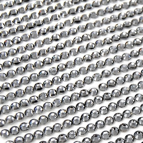 SWT 918 X 2 Sheets (2.5~3mm) Clear Rhinestone Self Adhesive Diamantes Stick on Gems --- Perfect for Decorating Handmade Cards / Home Crafts / Wedding Stationary / Photo Frames / Wallpaper