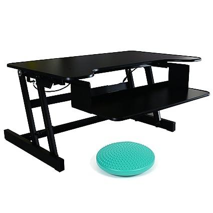 Bureau Fitness standeasy deskriser LX avec un équilibre cushion| assise réglable en hauteur de travail | réglable en hauteur bureau debout noir