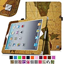 buy [New Release] Fintie Folio Case For Apple Ipad 4Th Generation With Retina Display, Ipad 3 & Ipad 2 Vegan Leather Stand With Smart Cover Auto Wake / Sleep - Map Brown