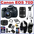 Canon EOS 70D DSLR Camera with 3 Canon Lenses Pro Pack: Includes - Canon EF-S 18-135mm f/3.5-5.6 IS STM Lens - Canon EF-S 55-250mm f/4-5.6 IS II Lens - Canon EF 50mm f1.8 II Autofocus Lens, Also Includes Backpack, Spare Battery & Travel Charger, 32GB SDHC