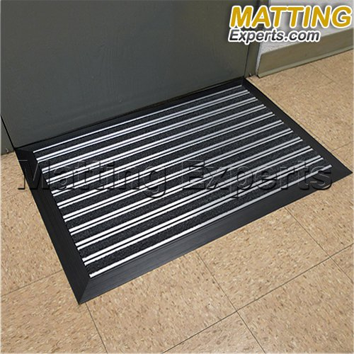 Aluminum Entrance Door Scraper Mat 3' x 2' with Durable Black Carpet Inserts Non-Slip Backing Beveled Edging for Indoor/Outdoor Floor Protection Doormat (Aluminum Door Mat compare prices)