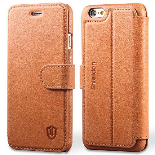 iPhone6 手帳型ケース / iPhone 6s ケース 手帳型 SHIELDON® アイフォン6s / 6 本革レザーカバー カード入れ 横置きスタンド マグネット留め具付き スリム 薄型 レトロブラウン