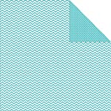 "Sn@p! Color Vibe Double-Sided Cardstock 12""X12""-Teal Chevron/Mini Dot  25 per pack"