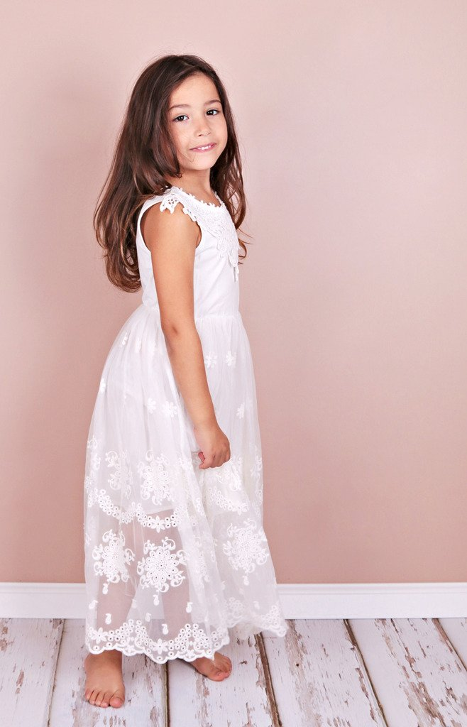 Bow Dream Flower Girl's Dress Vintage Lace 1