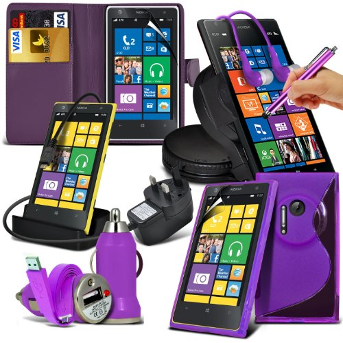10-In-1 Superior Pack Nokia Lumia 1020 (Purple) Premium Pu Leather 3 Card Slots Leather Wallet Flip Case Skin Cover + Lcd Screen Protector Guard + Micro Usb Ce Approved 3 Pin Mains Charger + Micro Usb Desktop Charging Dock Stand Charger + S Line Wave Gel