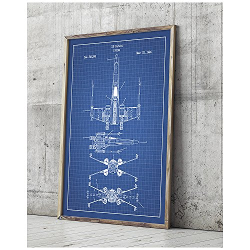 Star Wars Assorted Design Patent Art Poster 18 x 24 inch Silk Screen Prints (Star Wars Vehicles: X-Wing B - Blue Grid) (Cool Artwork compare prices)