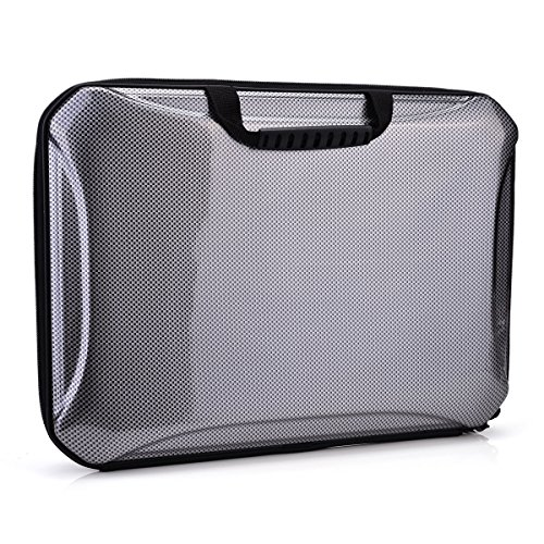 NuVur153; Dell Venue 11 Pro 5000&7000 Series Briefcase Bag Semi Hard Cover & Carry Straps |Black & Grey (Dell Venue 11 Pro Series 7000 compare prices)
