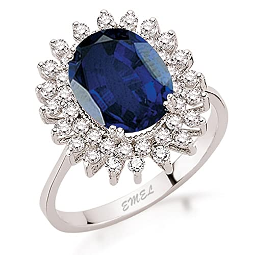 4.21 Carats 18k Solid White Gold Blue Sapphire and Diamond Engagement Wedding Bridal Promise Ring Band