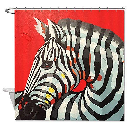 whiangfsoo-superbe-zebra-peinture-huile-contre-un-fond-rouge-rideau-de-douche-pour-baignoire-n4-60x7
