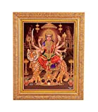 Bm Traders Golden Zari Work Photo of Maa Durga With Gloden Frame