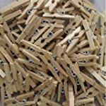 100 Coloured Craft Wooden Mini Pegs -...