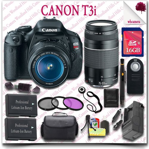 Canon Eos Rebel T3I Camera With Ef-S 18-55Mm Is Ii Lens + Canon Ef 75-300Mm Iii Lens + Wireless Remote + 3Pc Filter Kit + 16Gb Sdhc Class 10 Card + Slr Gadget Bag 19Pc Canon Saver Bundle