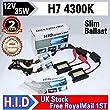 Xenon HID Conversion Kit Headlight Bulb with Dual Slim Ballast for Car Vehicle 12V 35W H7 (4300K)