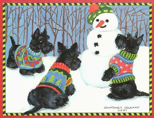 Three Scotties  Snowman Boxed Christmas Cards