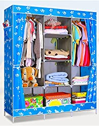 Evana 4.1 Feet Creative Printed Blue Paw Cabinet,Easy Installation Folding Wardrobe Cupboard Almirah Foldable Storage Rack Collapsible Cloths Organizer