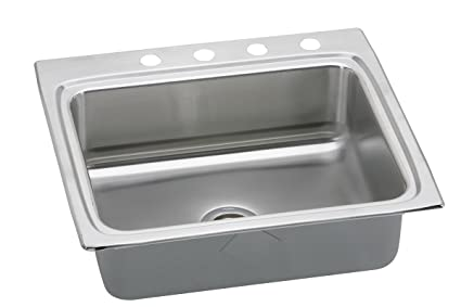 "Elkay LRAD2522600 18 Gauge Stainless Steel 25"" x 22"" x 6"" Single Bowl Top Mount Kitchen Sink"