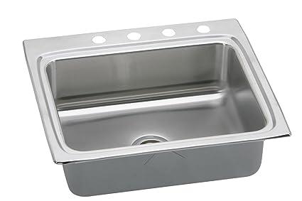 "Elkay LRAD2522600 18 Gauge Stainless Steel 25"" x 22"" x 6"" Single Bowl Top Mount Kitchen Sink"