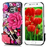 KAKA(TM) Fashion Pattern 3D Handmade Rhinestone Bling Crystal Pearl Rose Red Flower Transparent Case Cover Clear Hard Case for samsung galaxy s6 edge (Red lip)