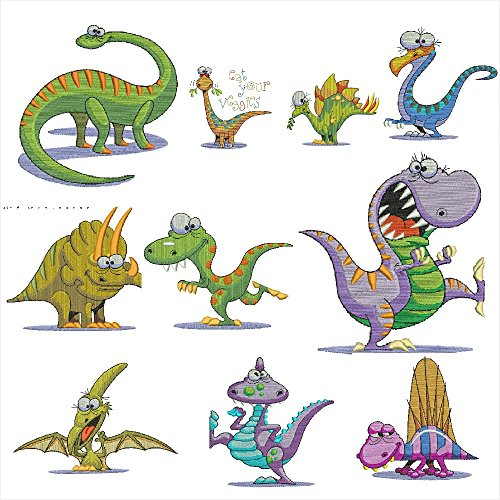 Cheapest Prices! Crazy Dinosaurs Applique,Embroidery Machine Designs CD For Brother Embroidery Machi...