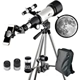Landove Telescope 70mm Apeture Travel Scope 400mm AZ Mount - Good Partner to View Moon and Planet - Good Travel Telescope with Backpack for Kids and Beginners (Color: 70mm AZ Refractor Telescope)