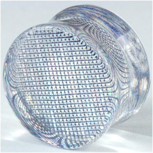 One Acrylic Double Flared Metallic Hologram Plug: 1 inch g 3/8