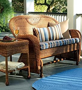 Prospect Hill Handwoven Resin Wicker Outdoor Love Seat & Chair Glider Set, in Light Brown