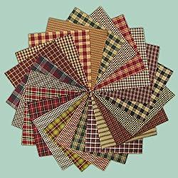 40 Rustic Christmas Charm Pack, 5 inch Precut Cotton Homespun Fabric Squares by Jubilee Creative Studio
