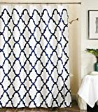 Max Studio Home Cotton Shower Curtain Trellis Moroccan Tile Quatrefoil Lattice 72-inch By 72-inch Navy Blue on White