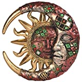Cracked Mosaic Crescent Moon & Sun Wall Plaque