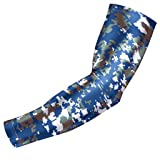 Bucwild Sports Digital Camo Compression Arm Sleeve Youth/Kids & Adult Sizes - Baseball Basketball Football Running - UV/Sun Protection Cooling Base Layer(Blue Gray - Adult Large )