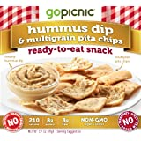 Gopicnic Ready-to-Eat Snacks Hummus Dip and Multigrain Pita Chips, 6 Count