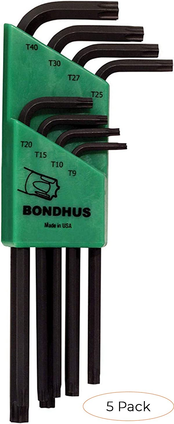 Bondhus 31834 Long Length Star-Tipped L-Wrenches, 8 Piece Set, sizes T9-T40 (Pack 5) (Tamaño: Pack 5)