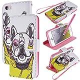 WeLoveCase Iphone5 Iphone5s 対応 手帳型 ケース タッチペン セット 高品質 PUレザー 合皮 カバー 横開き スタンド機能 二つ折 カード収納 ポーチ ダイアリー ブック型 人気 携帯 便利 スタイラスペン シリコン バンパー おしゃれ 可愛い 犬ちゃん アイフォン5 アイフォン5s