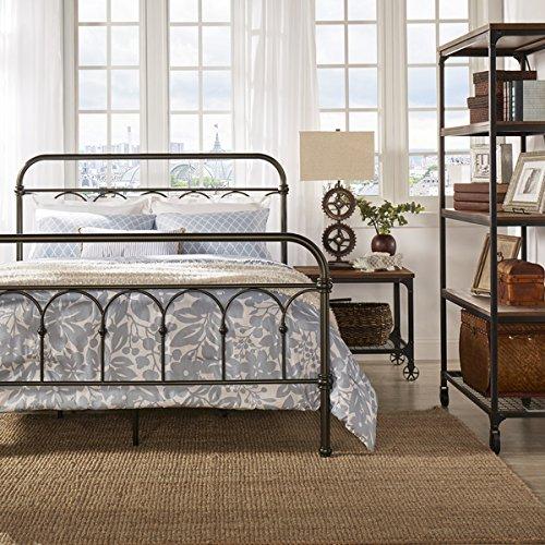 Vintage Metal Bed Frame Antique Rustic Dark Bronze Cast Knot Headboard Footboard Retro Country Bedroom Furniture (Full)