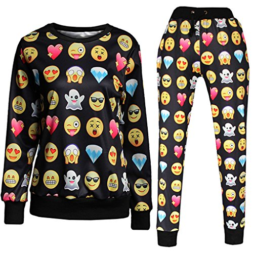 Roseate 3D Emoji Activewear Sweatpants and Shirt Joggers Black S