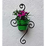 Green Gardenia Iron S Wall Bracket With Bucket-Green