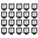 Masione 27W Offroad Driving LED Work Flood Light 4X4 Truck Jeep ATV 10-30V 2160 Lumen Waterproof (20 Pack, 27w Square, Flood Beam)
