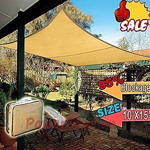 EVERGROW® SAND SUN SHADE SAIL 95% UV BLOCKING Blockage CANOPY COVER 15x10 FT Rectangle from EverGrow
