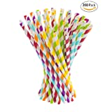 Paper Straws, 200 pack, Biodegradable Paper Drinking Straws, Multicolor Striped Straws for Parties, Carnivals and Crafts, By KGS Party Essentials (Color: Multicolor)