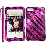 Zebra Bling Rhinestone Diamond Snap-On Hard Skin Case for Apple iPod Touch iTouch 2nd and 3rd Generation 8GB 16GB 32GB 64GB - Retail Packaging - Black/Hot Pink